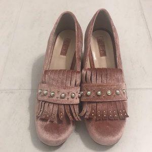 Pink Velvet loafer heels - Size 6